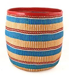 Vibrant storage baskets are hand woven in Kenya from bright strips of recycled plastic bags and finished with a nice leather binding at the top.