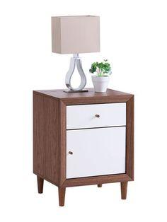 Olsen 2 Drawer Bedside Table Nightstand Crisp White Melamine Veneer Scandinavian
