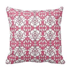 White Damask Scallops Throw Pillow