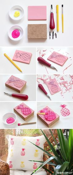 DIY Pineapple Print Pillow Tutorial by i spy diy DIY stamps for deco, invites etc Fun Crafts, Diy And Crafts, Arts And Crafts, Decor Crafts, Ideas Paso A Paso, Craft Projects, Projects To Try, I Spy Diy, Stamp Carving
