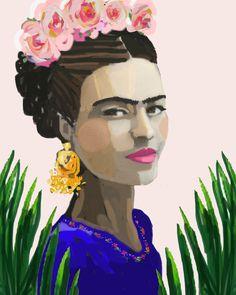 Frida Kahlo imprimir rosas bonita de papel o de por DevinePaintings
