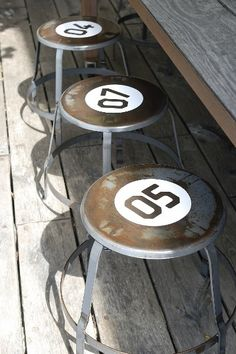 Why didn't I think of this!?!?! pool bar stools! Would look awesome as colored balls!