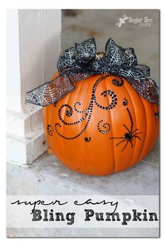 Super EASY Bling Pumpkin Decor - check out this tutorial, you won't believe how easy this bling pumpkin idea is to make - - Sugar Bee Crafts