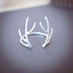 antler ring in sterling silver 925, deer ring di AppleLatte su DaWanda.com