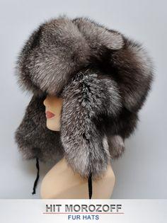Luxury BLUE FROST FOX Fur Hat Russian Ushanka Trooper Pelzmütze Chapka Silver