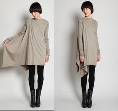 DIY Rick Owens tunic.  It's in Russian but it's not hard to figure out how to do this.