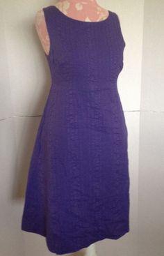 786f0a06c230c6 J.Crew Purple Textured 100% Cotton Button Back Sleeveless Dress New  125 4