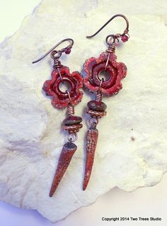 That Which We Call a Rose...:  Rich, red handcrafted artisan earrings by Two Trees Studio, $46.00.
