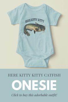 Adorable Catfish Fishing Onesie for Daddy's #littlefisherman