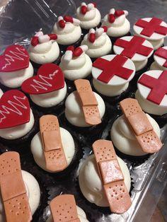 Cute medical, band-aid cupcakes