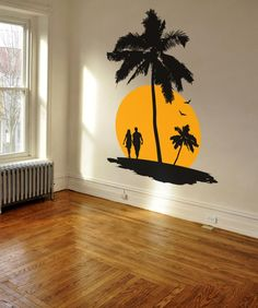 Decal A: Paradise Scene (Palm Tree, Island and Couple)Color B: SunDifferent sizes are available. Email us and we will give you a fair price.Some wall decals may come in multiple pieces due to the size of the design. Simple Wall Paintings, Home Wall Painting, Creative Wall Painting, Wall Painting Design, Wall Art Designs, Wall Design, Bedroom Designs, Design Design, Tree Design On Wall