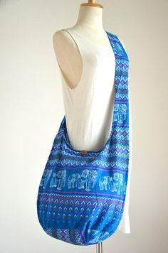 Blue Hill Tribe Cotton Bag Boho Hobo Bag Hippie by Dollypun