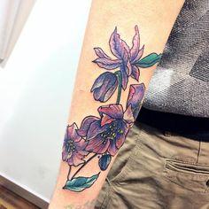Flowers tattoo. Arm color tattoo. by Ana Maturana