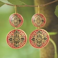 @Overstock - Add a touch of handmade beauty to your ensemble with a pair of gorgeous enamel earrings. Crafted of goldtone metal, these dangle earrings feature intricate black enamel detailing on matt enamel in a unique design that will highlight your look.http://www.overstock.com/Worldstock-Fair-Trade/Handcrafted-Goldtone-Matt-Red-Enamel-Drop-Earrings-India/6836571/product.html?CID=214117 $20.99