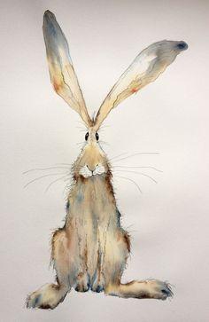 Ähnliche Artikel wie Tabitha - große Original Aquarell und Tusche Hase, Malerei, Aquarell Hase, Hase original auf Etsy