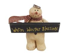Vintage Snowman Angel Holding Warm Winter Blessings Sign