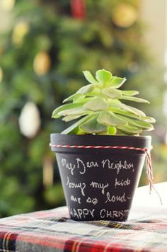Chalkboard Potted Plant
