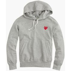 J.Crew Play Comme Des Garcons Pullover Hoodie (€370) ❤ liked on Polyvore featuring tops, hoodies, jackets, sweaters, graphic pullover hoodies, graphic hoodie, white hoodie, cotton hoodie and pullover hoodie