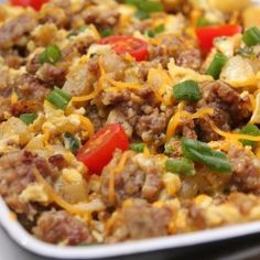Breakfast Potato Scramble: Looking for a simple brunch recipe? This egg, sausage, and potato scramble is the best dish for an easy and delicious breakfast or brunch. Breakfast Potatoes, Savory Breakfast, Breakfast Dishes, Breakfast Recipes, Breakfast Ideas, Brunch Ideas, Breakfast Casserole, I Heart Recipes, Easy Brunch Recipes