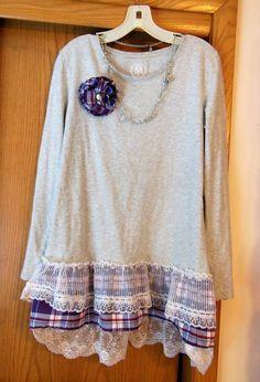 New, Womens, Gray T-Shirt, Embellished, Custom Designed #Handmade #BasicTee