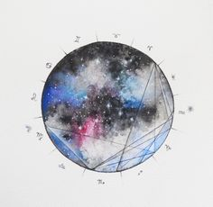 A magical watercolor astrological galaxy birth chart! Hand painted by artist Willow Heath and made to order at Etsy.
