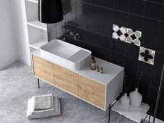 Modern Oak wood Bathroom is some first attempt to show fresh, natural oak wood in bathroom ambient by Krzysztof Bogdanowicz. Wood Bathroom, Bathroom Interior, Interior And Exterior, Interior Design, Floating Nightstand, Basin, Modern, Interiors, Furniture