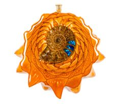 Opal-Inlaid Ammonite (Large) Third Eye Pinecone Talisman Necklace on Etsy, £126.35