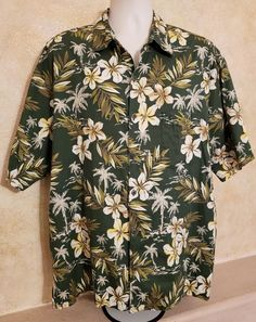 411609ea7 Details about Pau Hana Hawaiian Shirt Green Beige Brown Floral Tropical  Mens - Size XXL