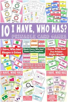 Free Printable I have who has games
