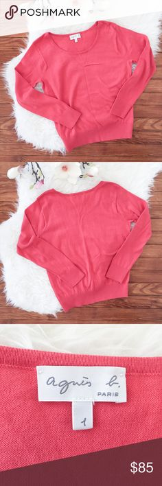 """*NEW* Agnes b. Cotton Sweater Hot Coral Pink """"Agnes b.""""      New Without Tag     Sweater     100% Pima Cotton     Very Soft!!!     Hot Coral Pink   Size : 1 Armpit to armpit : 18"""" Armpit to end of sleeve : """" Length : 23""""  Please see the pictures.  Thank you for looking my item. Please check out my other items! Agnes B. Sweaters"""