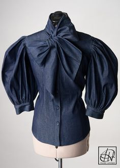 Tawni Haynes Denim Bow Blouses! Many colors and fabrics to choose from! Available in standard, & plus sizes XS thru 5X!  Click to Shop online or call 972-754-5096!