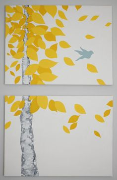 """Original Acrylic Painting """"Freedom"""" on 2 Separate Canvases-  Birch Tree with Bird, Yellow, Grey, White and Grey Blue/Green. PeacefulHappyHome Shop"""