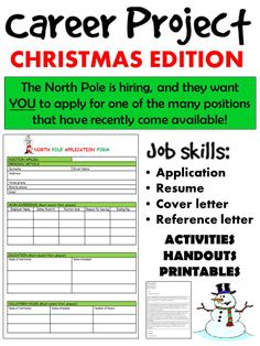 This is a fun way for students to learn basic skills and requirements for a job or career. This is also a great way to bring the Christmas spirit into the classroom while completing course requirements in a creative way. Students are never too old to have fun with Christmas-themed activities!