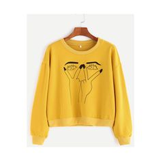 SheIn(sheinside) Yellow Gesture Print Contrast Trim Sweatshirt (22 CAD) ❤ liked on Polyvore featuring tops, hoodies, sweatshirts, yellow, sweater pullover, yellow long sleeve top, print pullover, long sleeve sweatshirt and stretchy tops