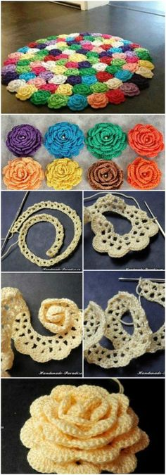 Crochet For Beginners Crocheted Flower Rug!Here you will find so many interesting and beautiful step by step crochet flowers ideas. Crochet Puff Flower, Crochet Flower Tutorial, Crochet Flower Patterns, Crochet Flowers, Knitting Patterns, Crochet Doilies, Doilies Crafts, Crochet Stitches, Diy Flowers