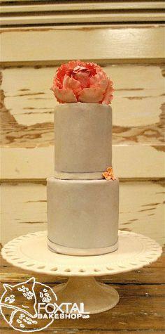 Light Grey Peony Sugar Paste Flower Cake Central Oregon Wedding Cake