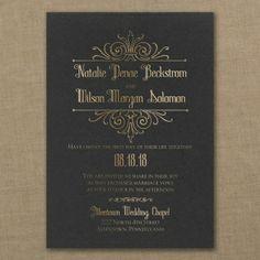 Regal Crest - Classic Wedding Invitation - Black & Gold | J.Carlyle