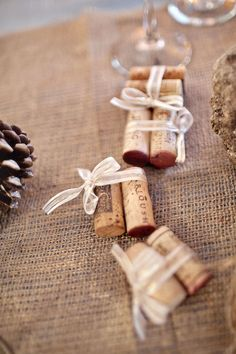 Tied wine corks. Place cards?