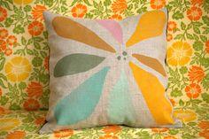 Blockprinted Linen Pillow Cover - Hanabi
