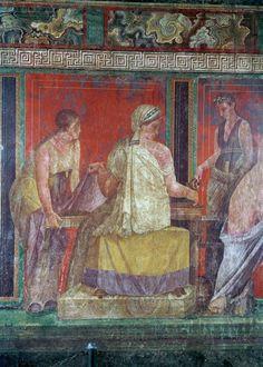 Triclinium (chambre) : scène d'initiation aux mystères de Dionysos ou rite d'initiation féminin, Villa des Mysteres, Pompéi