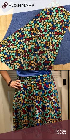 LuLaRoe Azure Skirt Size Large L Selling a really cute LuLaRoe Azure skirt in size large. I got this because it was cute and matched a perfect t I had. I cut off the tags and wore it for a few hours before realizing the skirt is really too big for me. I'm a medium and with this skirt I can't fold down the waistband without it gaping or wiggling around. It's in absolutely perfect condition!  From a smoke and pet free home! LuLaRoe Skirts A-Line or Full