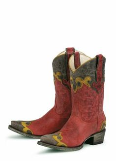 Superb Lane Boots Dakota in Red, Brown, and Yellow Leather Fashion Cowgirl Boots