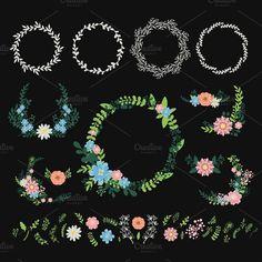 Floral wreath decoration vector.. Wedding Card Templates