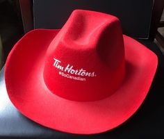 ca2abce72f7 Tim Hortons SO CANADIAN Red Cowboy Hat Promo Limited Edition Canada Employee  Tim Hortons