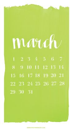 Lime green white March calendar iphone phone wallpaper background lockscreen