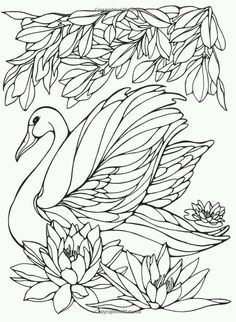 Printable Swan Painting Pages for Girls Worksheets is part of Bird coloring pages - Bird Coloring Pages, Adult Coloring Pages, Coloring Books, Swan Painting, Diy Y Manualidades, Motifs Animal, Quilling Patterns, Colorful Pictures, Line Art