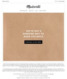 Madewell Email. Subject Line: This. Is. Good. (I clicked on it.)