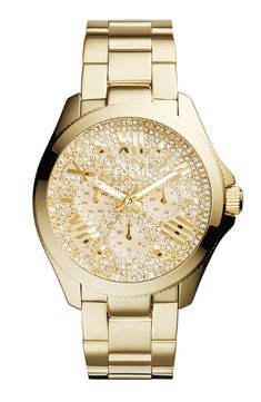 Wow! A glamorous Fossil timepiece with a sea of crystals.