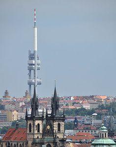 Žižkov television tower in Prague.