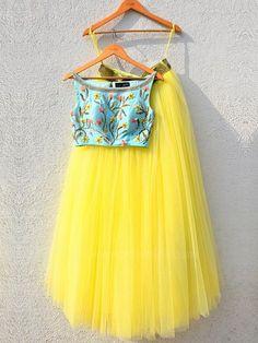 Yellow Flared Lehenga with Turquoise Blue Crop Top by Designer Anisha Shetty Lehenga Indien, Indian Designer Outfits, Designer Dresses, Indian Dresses, Indian Outfits, Yellow Lehenga, White Anarkali, Black Lehenga, Stylish Outfits